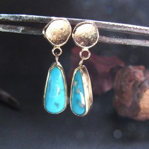 14k yellow solid gold earrings with turquoise.